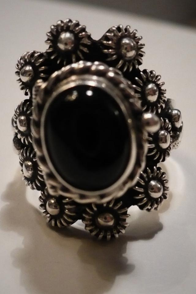 Mexican Black Onyx & Silver Ring Photo