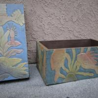 Hand  Carved/Hand Painted Wooden Fish Chest Photo