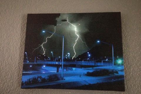 Lightning in the desert.  Photo