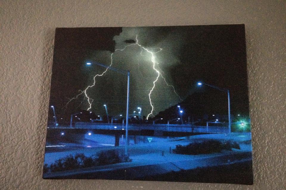 Lightning in the desert.  Large Photo