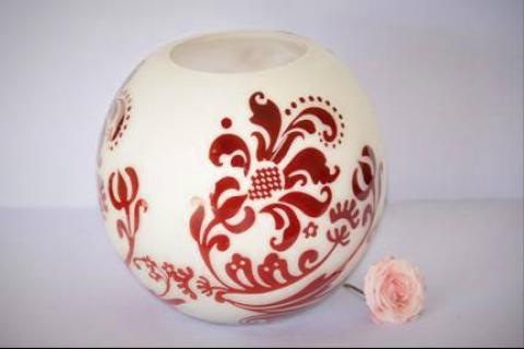 Glass vase - red & white Photo