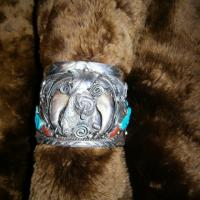 Sterling Silver Native American - Navajo Bear Claw w/ Turquoise Cuff Photo