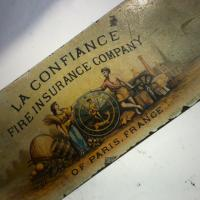 Antique &quot;La Confiance&quot; Paris Metal Sign Photo