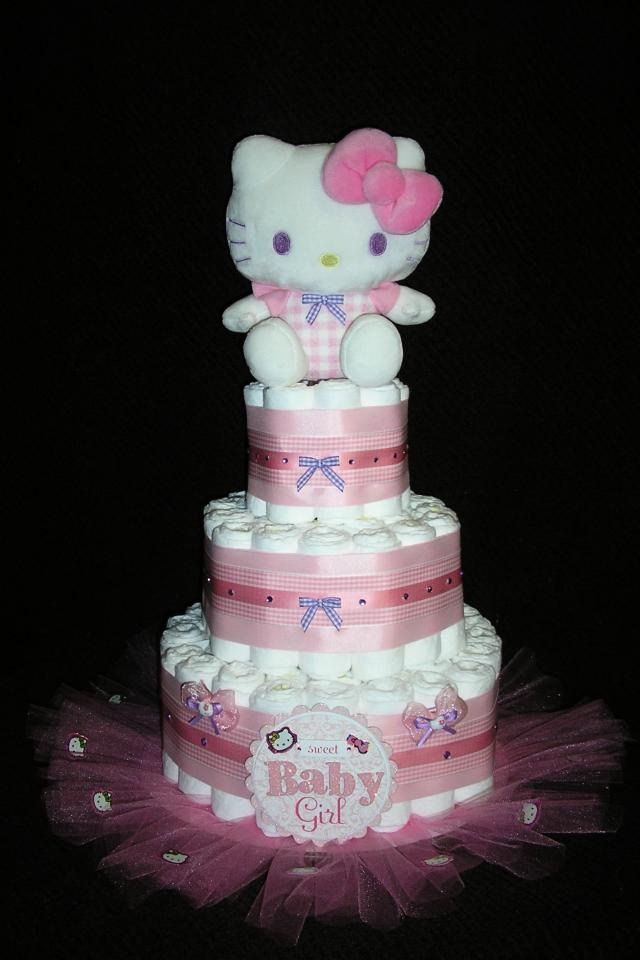 3 Tier Diaper Cake with tulle, custom made for you! Photo