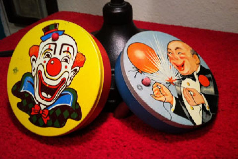 2 Tin 1950s Noisemakers Large Photo