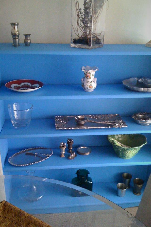 Blue Wood Bookcase Photo