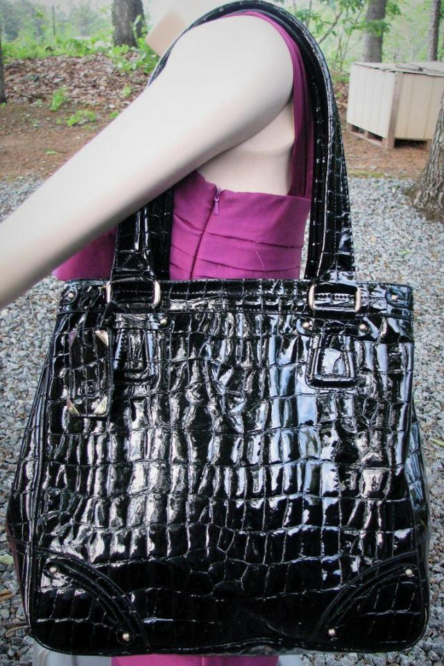 ♥♥♥LIZ CLAIBORNE♥♥♥ PATENT ALLIGATOR PRINT EXTRA LARGE SHOPPER, SUPER TRENDY! Photo