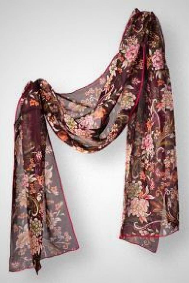 Floral Italian Silk Scarf in Bordeaux  Photo