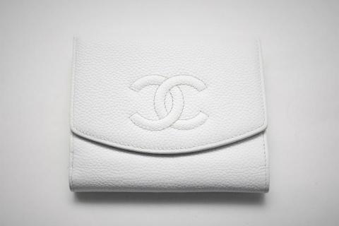 Chanel White Caviar Leather French Purse Wallet Photo