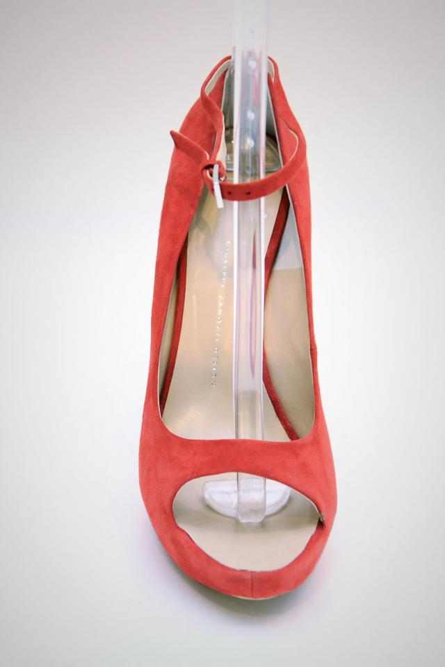 Giuseppe Zanotti Red Suede Peep Toe Pumps Photo