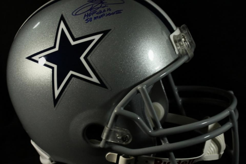 EMMITT SMITH SIGNED COWBOYS FULL SIZE HELMET..HOF 2010 INSCRIPTION & SB MVP XXVII INSCRIPTION...EMMITT SMITH HOLOGRAM COA Large Photo