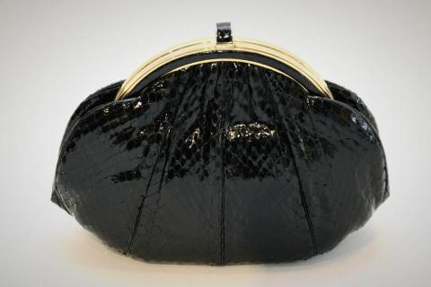Judith Leiber Structured Black Snakeskin Clutch Photo
