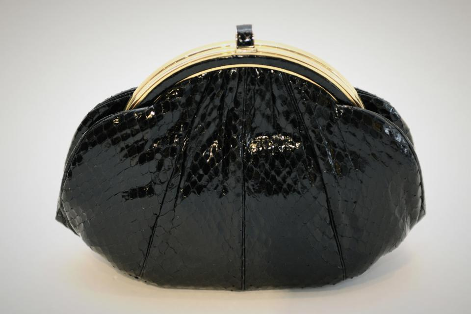 Judith Leiber Structured Black Snakeskin Clutch Large Photo
