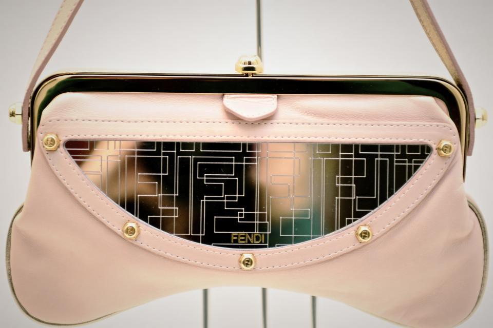 Fendi Pink Leather & Monogram Mirror Shoulder Bag Large Photo