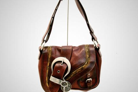 Dior Brown Leather Gaucho Saddle Bag Photo