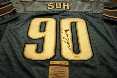 NDAMAKONG SUH SIGNED AUTHENTIC BLUE LIONS JERSEY..JAME SPENCE AUTHENTICATION CERTIFICATE OF AUTHENTICITY Photo