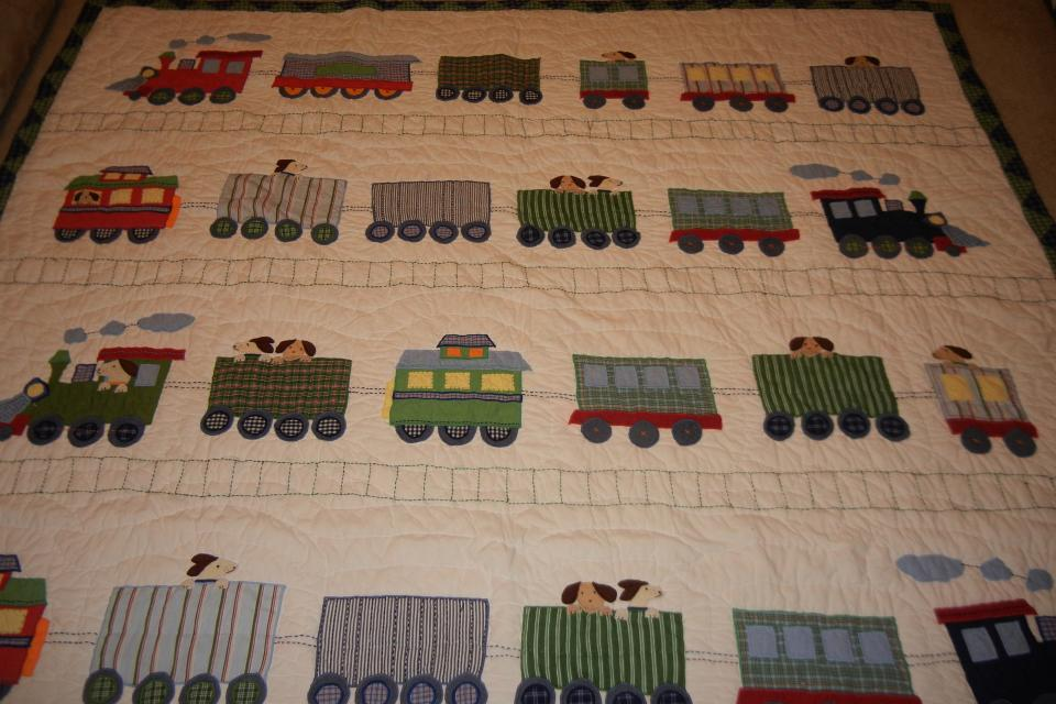 Pottery Barn Kids Train Quilt and Pillow Sham Large Photo