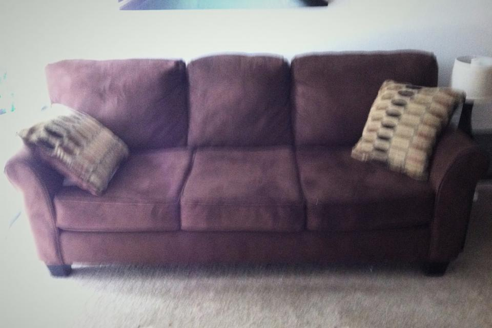 Brown Micro Suede Couch!!!!! Side table, lamp, and coffee table! Large Photo
