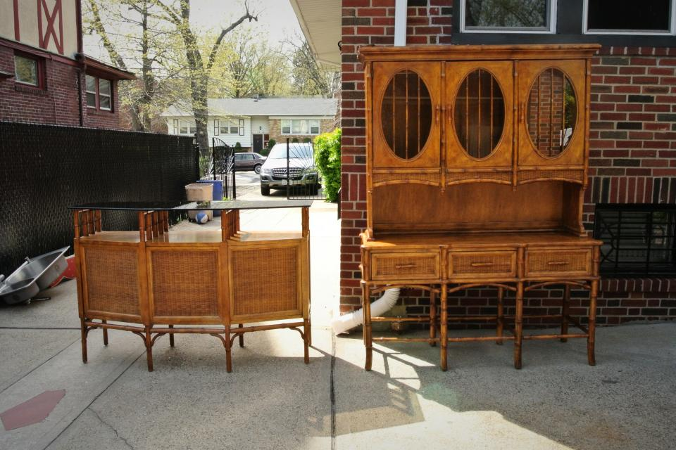 Gorgeous Mid-Century Bamboo Bar & Hutch - $850  Large Photo