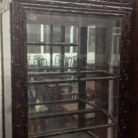 Rosewood bamboo-style glass display cabinet  Photo