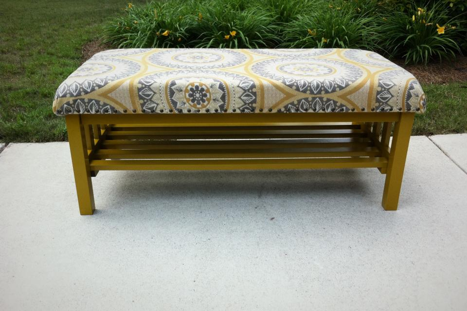 Upholstered Wood Bench W/ Shelf Large Photo