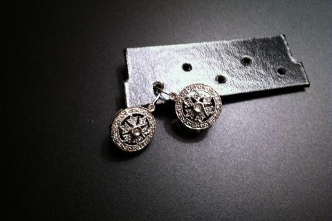 DIAMOND SNOW FLAKE EARINGS 14K GOLD Photo
