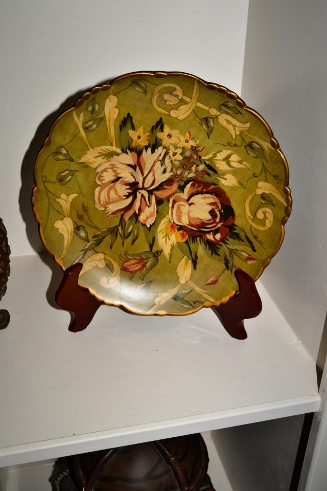 Mint Green Floral Solid Plate Home Decor Large Photo