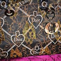 Golden Lace Black Embroidered Floral Dior Hand Bag w/ Silver Finishings & Black Handles Photo