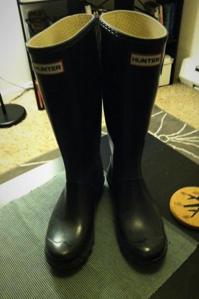 Black Shiny Hunter/Huntress Boots-Size 8 Large Photo