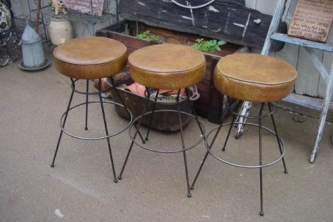 BAR STOOLS THREE  MIDCENTURY MODERN 24