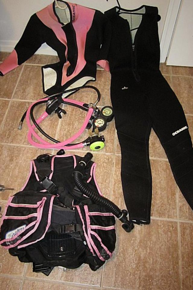 Scuba Diving Equipment Regulator, BC, Wetsuits and Tank Valves Photo