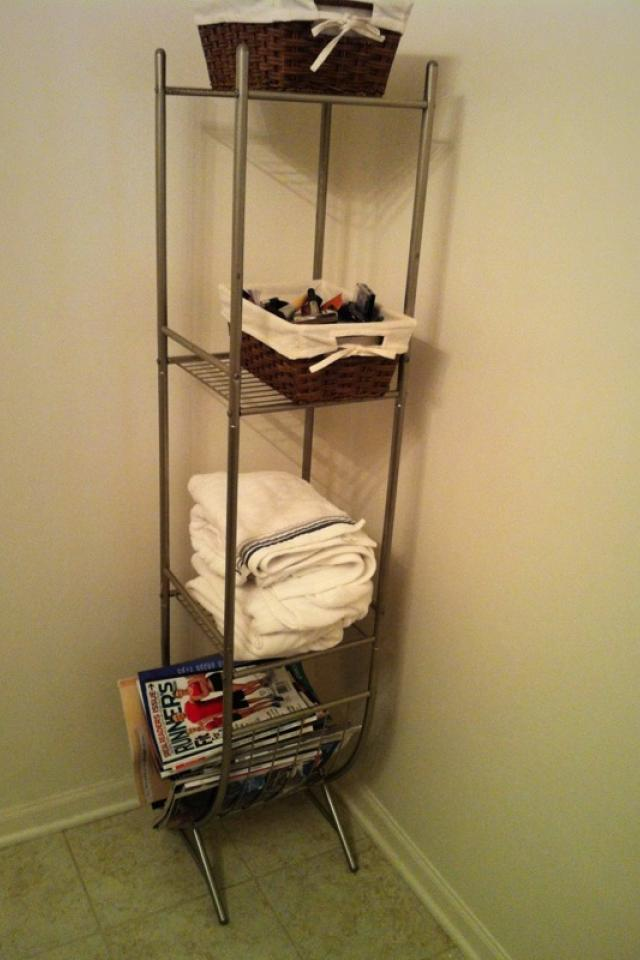 Gorgeous Brushed Chrome Bathroom Organizer, Towel Rack, Shelves Photo