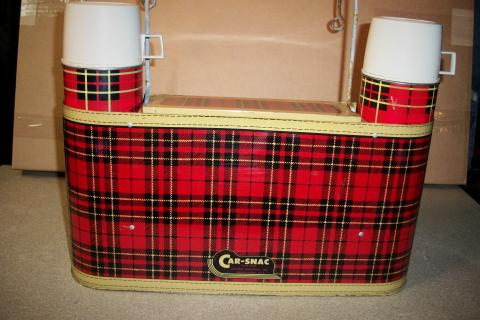 Vintage 60S Plaid Tin CAR-SNAC Hanging Picnic Set For Rat Rod or Classic Car Photo