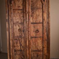 Large Indian Armoire with Hand Carved Doors Photo