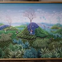 Naïve Jamaican Landscape Painting Photo