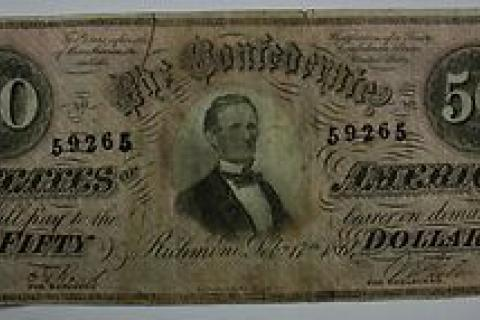 LOOK!!! EXTREMELY RARE CURRENCY; 1864 Fifty Dollar $50 Bill Confederate States Obsolete Note Richmond T Photo