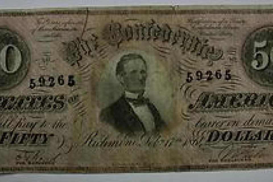 LOOK!!! EXTREMELY RARE CURRENCY; 1864 Fifty Dollar $50 Bill Confederate States Obsolete Note Richmond T Large Photo