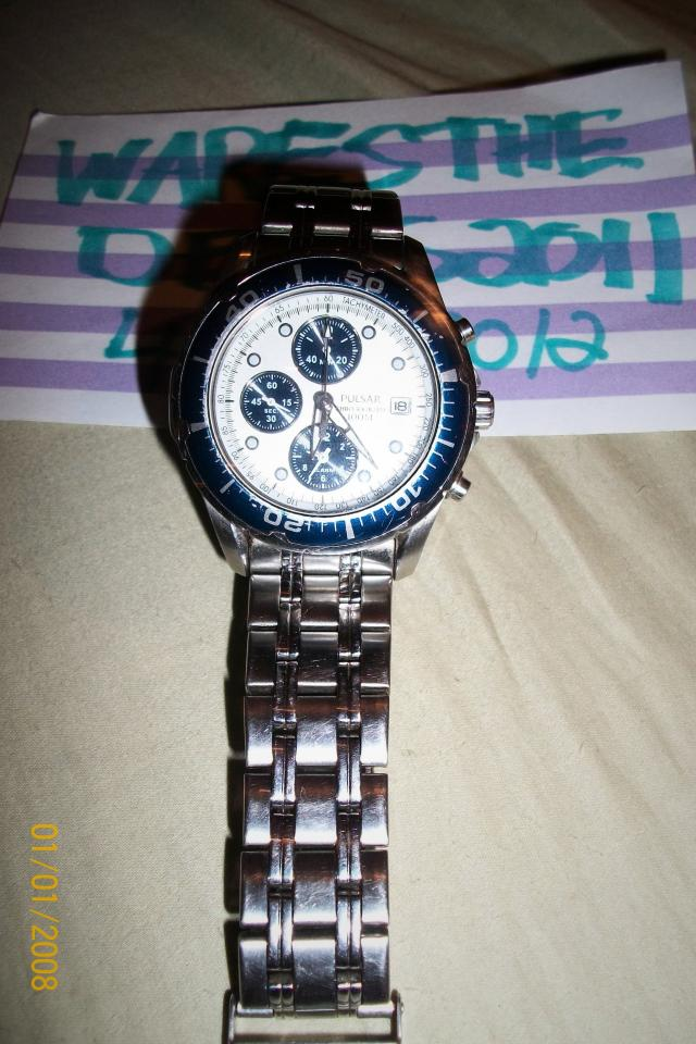 Mens Pulsar Stainless Steel Chronograph wrist watch Blue Accents Photo