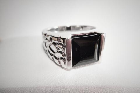 Black Agate Men's Silver Ring Photo