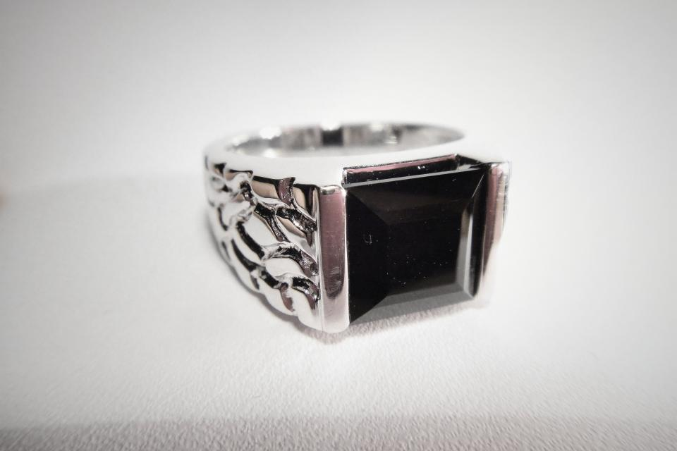 Black Agate Men's Silver Ring Large Photo