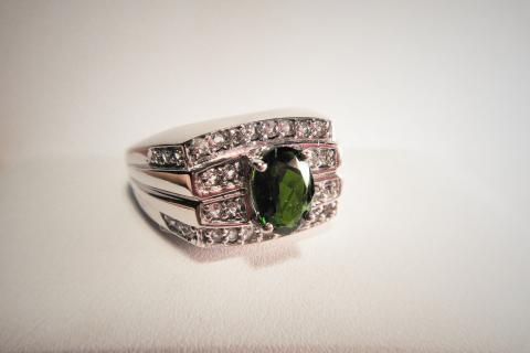 Russian Diopside & White Topaz Men's Silver Ring Photo
