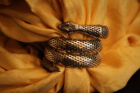 Buy a piece of accessory art! Vintage Gold Snake Wrap Bracel