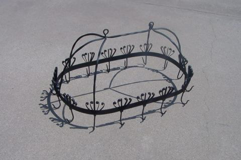 POT RACK WROUGHT IRON FANCY SCROLLY STURDY Photo