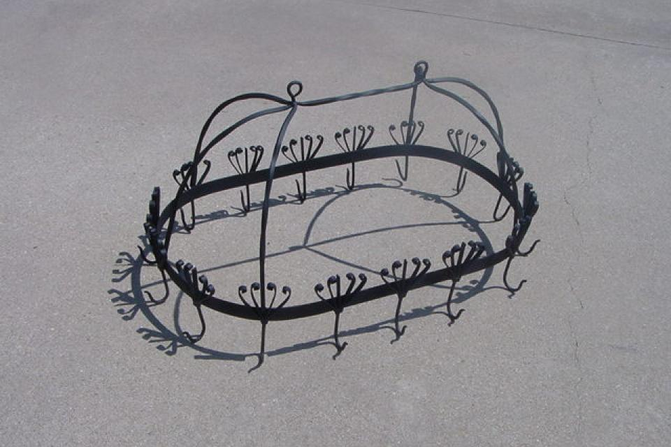 POT RACK WROUGHT IRON FANCY SCROLLY STURDY Large Photo