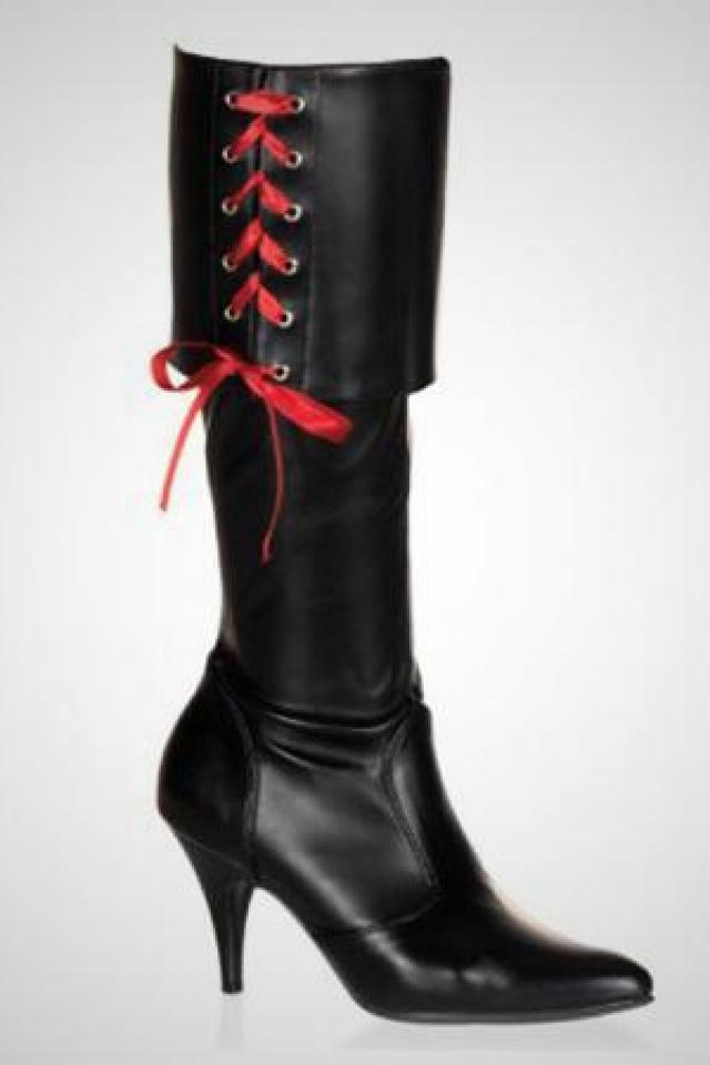 PartyLand Funtasma Women's Sexy Black Pirate Boot, Size 11 Large Photo