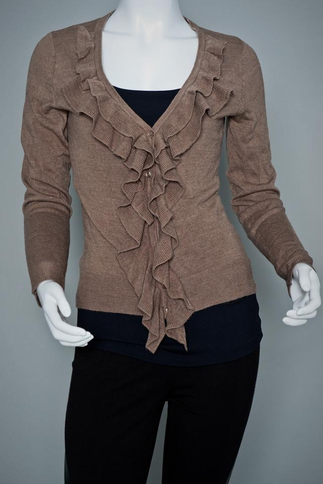 NY&Co Brown Ruffled Sweater.  Photo