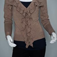 NY&Co Brown Ruffled Sweater.  Photo