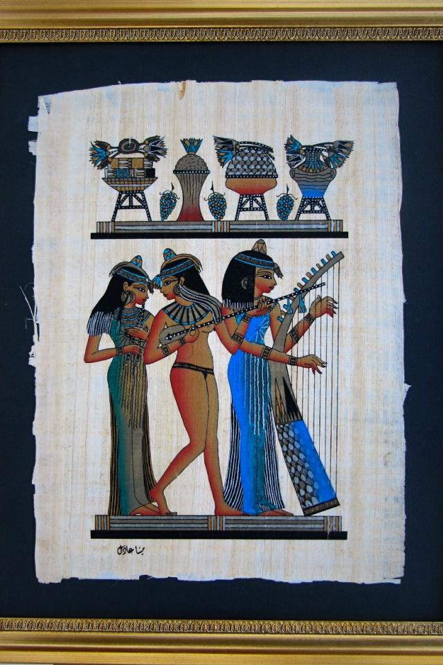 Framed Egyptian Papyrus painting - The three musicians Photo
