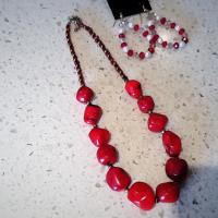 Red stone beads Photo