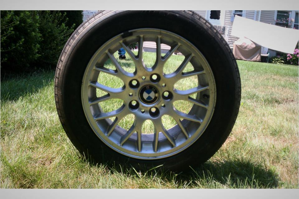 3 stock BMW rims w/ tires (bbs style) Large Photo